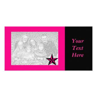 Hot Pink Star Border Photo Card
