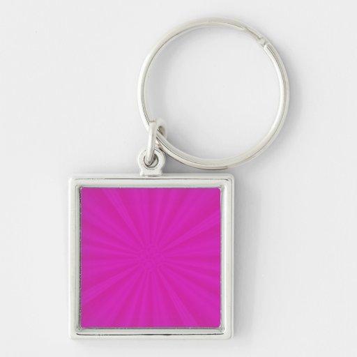 Hot Pink Star Burst Desgin Silver-Colored Square Keychain