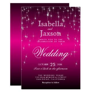 Hot Pink Star Lights Wedding Invitation