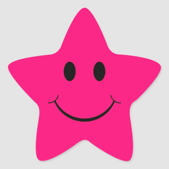 Hot Pink Star Smiley Face Stickers Zazzle
