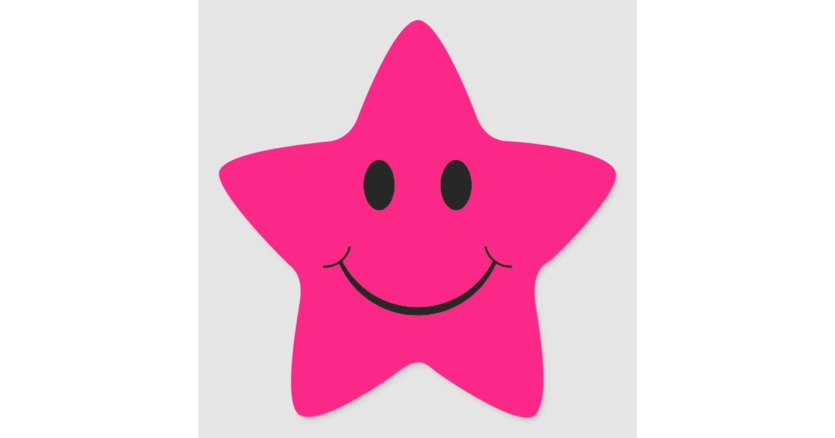 Hot Pink Star Smiley Face Stickers | Zazzle.com