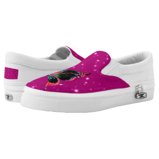 Hot pink starry print with Butterfly Slip on Printed Shoes