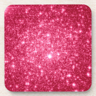 Hot Pink Stars Beverage Coaster