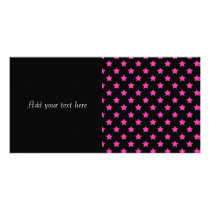 Hot Pink Stars on Black Background Pattern Card