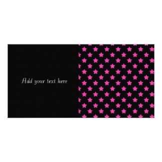 Hot Pink Stars on Black Background Pattern Card