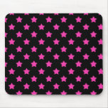Hot Pink Stars on Black Background Pattern Mouse Pad
