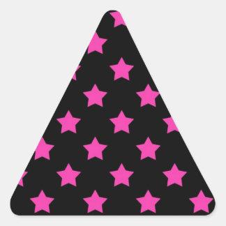 Hot Pink Stars on Black Background Pattern Triangle Sticker