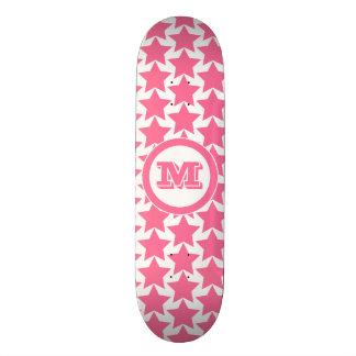 Hot Pink Stars Pattern & Monogram   Girls' Skateboard Deck
