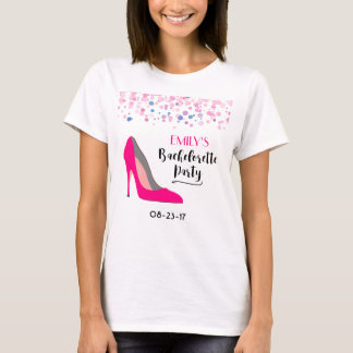 Hot Pink Stiletto High Heel  Bachelorette Party T-Shirt