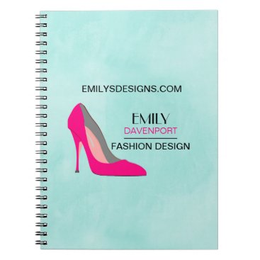Professional Business Hot Pink Stiletto High Heel Shoe Chic Business Spiral Notebook