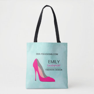 Hot Pink Stiletto High Heel Shoe Chic Business Tote Bag