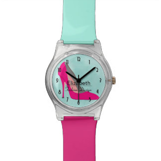 Hot Pink Stiletto High Heel Shoe Chic Personalized Wrist Watch