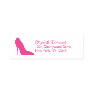 Hot Pink Stiletto High Heel Shoe Fancy Self-inking Stamp
