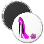 Hot Pink Stiletto Shoe and Rose Fridge Magnets