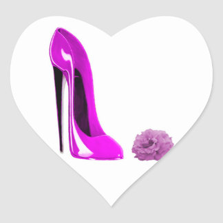 Hot Pink Stiletto Shoe and Rose Heart Sticker
