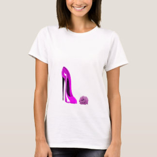 Hot Pink Stiletto Shoe and Rose T-Shirt