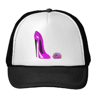 Hot Pink Stiletto Shoe and Rose Trucker Hat