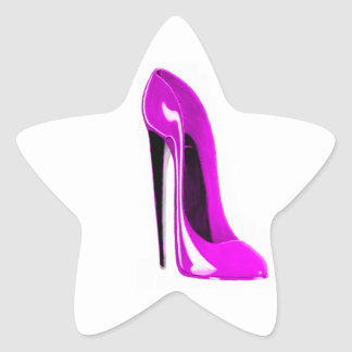 Hot Pink Stiletto Shoe Star Sticker