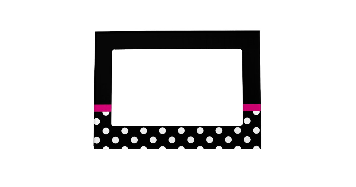 Hot Pink Stripe Black And White Polka Dots Magnetic Picture Frame