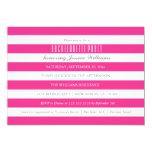 "Hot Pink Striped Bachelorette Party Invitations 5"" X 7"" Invitation Card"