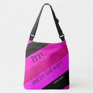 Hot Pink Striped Pray Shoulder Bag Tote