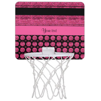 Hot Pink Stripes And Glitter Spots Mini Basketball Backboard