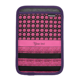 Hot Pink Stripes And Glitter Spots Sleeve For iPad Mini