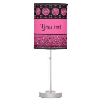 Hot Pink Stripes And Glitter Spots Table Lamp