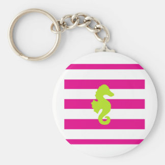 Hot Pink Stripes and Green Seahorse Keychain