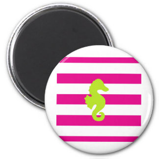Hot Pink Stripes and Green Seahorse Magnet