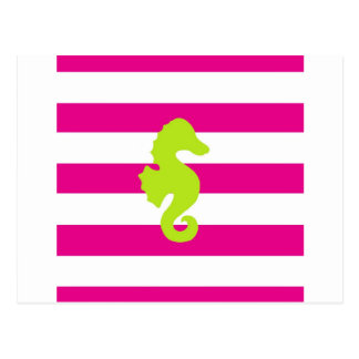 Hot Pink Stripes and Green Seahorse Postcard