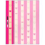 Hot Pink Stripes Modern Heart Pattern Dry-Erase Board