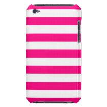 Hot Pink Stripes Pattern iPod Case-Mate Case