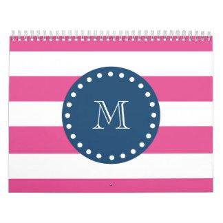 Hot Pink Stripes Pattern, Navy Blue Monogram Calendar