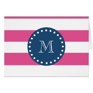 Hot Pink Stripes Pattern, Navy Blue Monogram Greeting Card