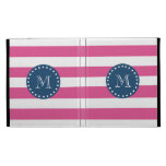 Hot Pink Stripes Pattern, Navy Blue Monogram iPad Cases