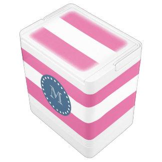 Hot Pink Stripes Pattern, Navy Blue Monogram Cooler
