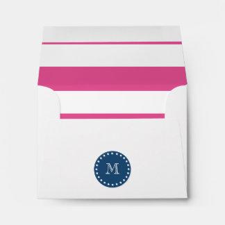 Hot Pink Stripes Pattern, Navy Blue Monogram Envelopes