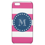 Hot Pink Stripes Pattern, Navy Blue Monogram iPhone 5C Cover