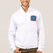 Hot Pink Stripes Pattern, Navy Blue Monogram Jacket
