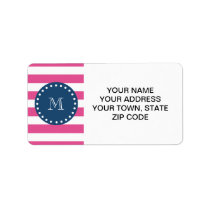 Hot Pink Stripes Pattern, Navy Blue Monogram Label