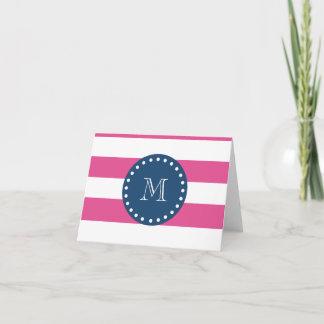 Hot Pink Stripes Pattern, Navy Blue Monogram Note Card