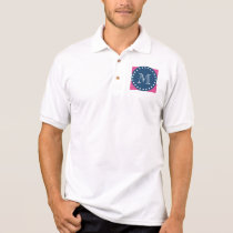Hot Pink Stripes Pattern, Navy Blue Monogram Polo Shirt