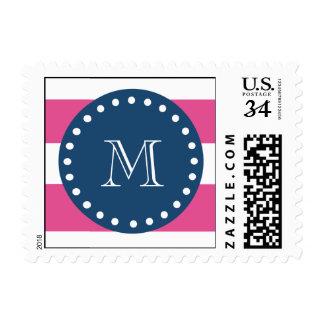 Hot Pink Stripes Pattern, Navy Blue Monogram Stamp
