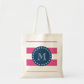 Hot Pink Stripes Pattern, Navy Blue Monogram Tote Bag