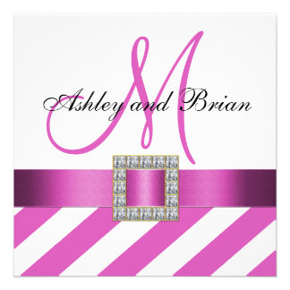 Hot Pink Stripes Ribbon Initial Wedding Invitation