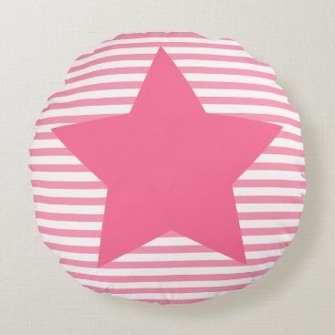 Beach Themed Hot Pink Stripes & Teal Star - Round Pillow