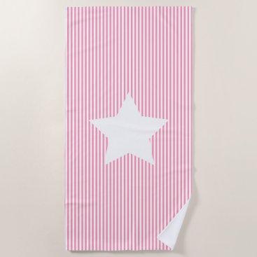 Beach Themed Hot Pink Stripes & White Star Beach Towel