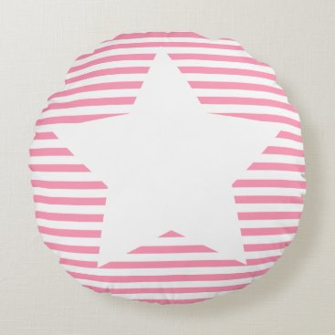 Beach Themed Hot Pink Stripes & White Star - Round Pillow