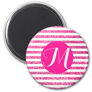 Hot Pink Stripes with Customizable Monogram Magnet